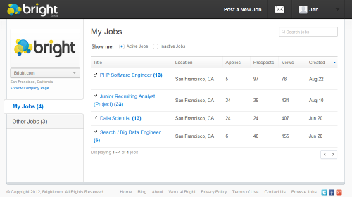 Bright Recruiter Dashboard