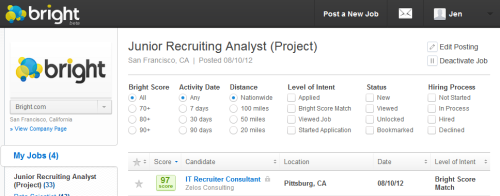 Bright Recruiter Filters and Sorting