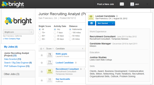 Bright Recruiter Resume Quick View