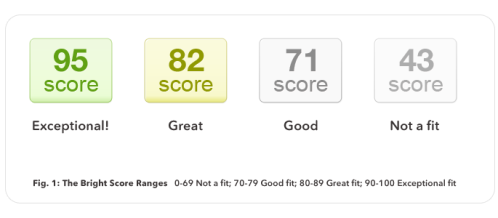 The Bright Score Ranges   0-69 Not a fit; 70-79 Good fit; 80-89 Great fit; 90-100 Exceptional fit