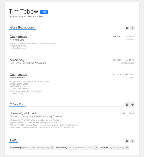 Tim Tebow's (unofficial) resume on Bright.com