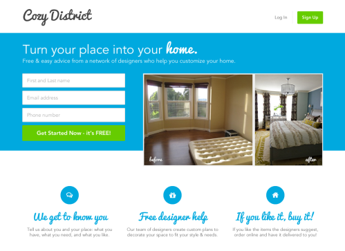 Cozy District: home page