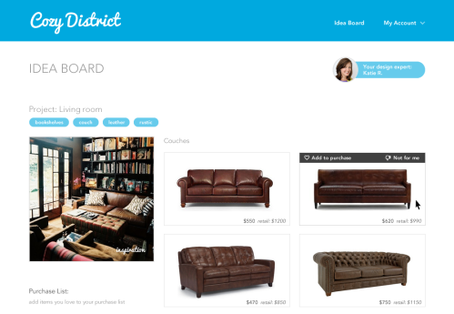 Cozy District: furniture selection